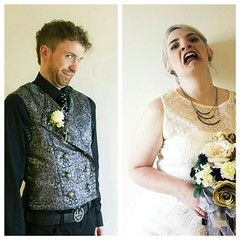 Photo_2016-09-07_05-28-24_PM (rosiemonroe13) Tags: bride groom silly quirky goth vintage lace upcycled dress handmade vest glitz cradle filth belt buckle floral flowers bouquet deco portrat