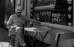 Downtime. (samgibney) Tags: streetphotography photography street break coffees cigar blackandwhite bw mono cork ireland bnwsocial candid olympus panasonic lumix 25mm