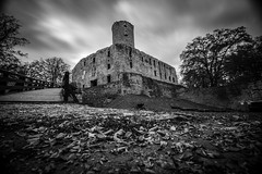 Lipowiec Castle (Miroslaw Tran) Tags: castle lipowiec babice black white long exposure longexposure trees leafs clouds