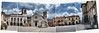 Lost today, but not forever (Giorgio Verdiani) Tags: norcia 2005 downtown umbria italia italy sanbenedetto square piazza building edifici architecture architettura clouds nuvole town cittã church chiesa fuji fujifilm 6900z 3mp panoramic panoramica mosaic mosaico