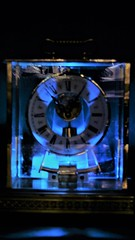Electric Blue (Rand Luv'n Life) Tags: odc our daily challenge crystal regulator clock electric blue gold glass time geometric black background back lighting favorite colors seth thomas west germany