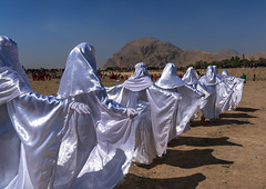 Women in white chadors during a traditional religious theatre called tazieh about imam hussein death in kerbala, Lorestan province, Khorramabad, Iran (Eric Lafforgue) Tags: 9people adults adultsonly ashura battle ceremony chador clothing colorimage commemoration condolencetheater drama epic history horizontal hossein humaninterest hussain imamhussein iran iranian islam khorramabad martyrdom middleeast mourning muharram muslim outdoors periodcostume persia photography play religion religiouscelebration shia shiism shiite smallgroupofpeople tazieh theatre unrecognizableperson womenonly lorestanprovince