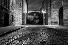 The famous Guinness gate in Dublin (Peter O'Doherty (Dublin)) Tags: guinness night long exposure peterodoherty photography photograph bw blackandwhite gate dotsy dublin dublincity