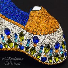 Mosaic shoe bottom close up by Verdonna Westcott (Verdonna.com) Tags: milk glass shoe mosaic jeweled vintage fenton westmoreland trinket dish encrusted embellished mosaiced crystal rhinestones swarovski