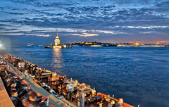 Dinner With A View Of The Maiden's Tower (Stuck in Customs) Tags: istanbul stuckincustomscom treyratcliff turkey treyratcliffcom stuckincustoms temple horizontal colour color day daytime dailyphoto trey ratcliff rr symmetry symmetrical outdoor outdoors outside hdr hdrphotography hdrphoto aurorahdr2017 macphun mosque white blue grey black brown gold sky clouds building worship religion people october 2016 p2016 architecture sunset dusk orange red yellow purple glow lighting tower ocean beach sea waterfront sony ilce7rm2