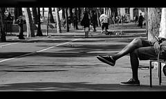 Chill ! (CJS*64) Tags: barcelona park people bw holiday monochrome mono blackwhite spain nikon shoes sitting legs candid watching catalonia chillin sit sat nikkor chill cjs whiteblack nikkorlens nikond7000 18mm105mmlens craigsunter cjs64