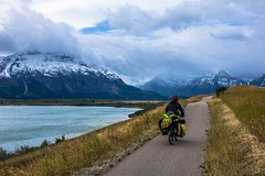 Wicked cycling trail into the town of Waterton.