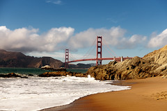 ....Wasting Time (DC Tink) Tags: ocean sanfrancisco california bridge red beach water architecture clouds nude outdoors coast sand rocks afternoon baker pacific goldengatebridge goldengate