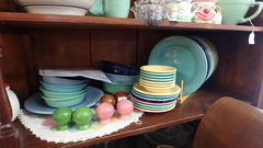 Fiestaware (dumblady) Tags: sea mist yellow shop fiesta florida antique pale dishes bowls fiestaware seamist dinnerware ware chiefland