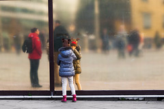 #19 (Svein Skjåk Nordrum) Tags: street city people urban blur color colour reflection window girl mirror blurry image optical surface explore explored
