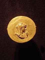 Gold Medallion with a portrait of Olympias, mother of Alexander the Great, Roman (Aboukir, Egypt) 242-243 CE (mharrsch) Tags: portrait woman female gold ancient roman mother egypt maryland baltimore medallion waltersartmuseum olympias 3rdcenturyce mharrsch