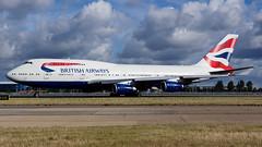 British Airways 747 (spencer.wilmot) Tags: london clouds airplane airport heathrow aircraft aviation ba boeing arrival britishairways runway lhr b747 baw egll speedbird b744 airside gcivx