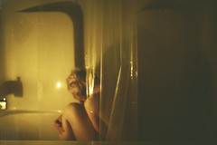 (Courtney Emery) Tags: selfportrait portrait candlelight nude female bathtub blonde low light