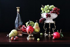 Life's  Bounty (Esther Spektor - Thanks for 12+millions views..) Tags: stilllife naturemorte bodegon naturezamorta stilleben naturamorta composition art creativephotography artisticphotography arrangement artisticphoto autumn bounty tabletop food fruit pear pomegrnate grape cluster srem bottle brendy bowl stand ceramics glass metal label brass availblelight reflection red green white burgundy golden brown estherspektor canon