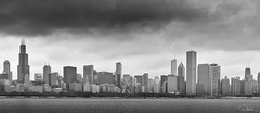 Chicago Skyline (Rendered) (Dan NYNJ) Tags: wideangle windycity blackandwhite highcontrastbw chicago wideanglenikon1424f28 harbor cityscape urban shore clouds city lakemichigan bw dock blackwhite monochrome skyscrapers cloud buildings skyline architecture water nikond750 nikon1424f28 downtown