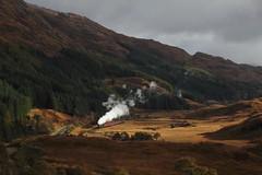 62005 - Glenfinnan Landscape (Oli G 15) Tags: 62005 k1 steam train loco locomotive lner eastern class br british railways jacobite valley mountains sunlight scotland west highlands 2016 smoke exhaust wcrc autumnal colours