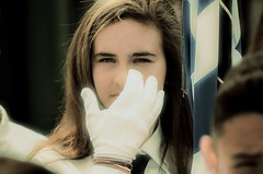 Blonde Girl (rodiann) Tags: greece greek teenager outdoor street white face glove