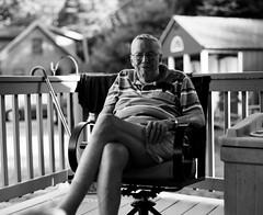 The Colonel (Nick Spadaro) Tags: film medium format black white bw kodak ilford delta portrait people elderly 67 pentax chair classic summer