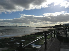 Moody River Mersey (Lydie's) Tags: liverpool rivermersey wallasey railings clouds waterfront