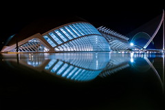 Bluefish (Maerten Prins) Tags: spain spanje valencia calatrava santiagocalatrava architect architecture modern cityofartsandsciences concrete curve curves hemisfric imax cinema eye shape night dark water reflection bridge pontdelassutdelor cables basin mozaic symmetry glass windows transparent lights mirror distortion