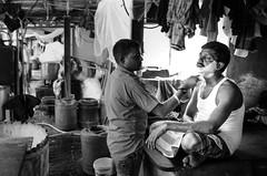 30Rs shave (Anna Toft) Tags: india indian street city bw travel slum mumbai