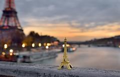 Two Eiffel Towers (Sizun Eye) Tags: eiffeltower seine river twilight dusk evening paris france longexposure le poselongue toureiffel miniature sizuneye tamron2470mmf28 nikond750 leefilters nisifilters littlestopper passerelledebilly