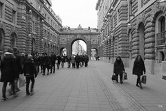 Street in front of the Swedish Parliament (magnusbjorns) Tags: sweden stockholm travel tourist stokkhlmur svj oldtown oldstockholm oldstreet travelphotography sverige streetphotography streetlife street monochrome helgeandsholmen riksgatan parliament parliamenthouse people city citylife