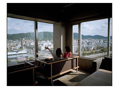Two girls on 8th floor. (Frederic Froument) Tags: pentax 67ii 67 55 f4 455 kodak portra portra400nc kyoto japan
