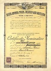 MOLINI E PASTIFICIO ALTA VALTELLINA SOC. AN. (scripofilia) Tags: 1922 alta altavaltellina azioni molini pastificio valtellina