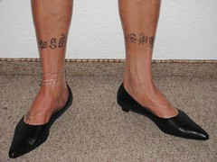 well worn pointy black leather kitten heels, nylons, tattoos and anklet - close up session (Isabelle.Sandrine1998) Tags: legs feet shoes pumps kitten low heels nylons stockings tattoo anklet dangling shoeplay toes ballet flats leather elegantsecretary
