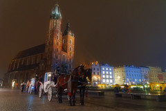 St. Mary's Church (marko.erman) Tags: krakw poland marketsquare city old church basilica stmaryschurch architecture brick gothic towers night illumination christmas carriage horses sony