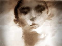 2015-09-01 soluble (67)M (april-mo) Tags: portrait distortion blur reflection monochrome sepia experimental distorted foil blurred flou soluble experimentalphoto womanportrait experimentalart experimentaltechnique solubleportrait