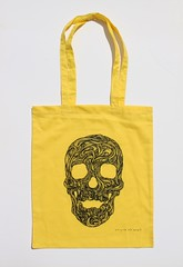 Swirly Skull Tote (yellow) (Wayne Chisnall) Tags: pink blue red orange green yellow skulls skeleton grey screenprint lilac cotton bones forgetmenot bags tote shopper totes deathshead totebags shoppingbags tattoodesign screenprints artprints tattoodesigns sull deathhead screnprint cottonshoppingbags cottontotes artbags skulldesign cottonshoppingbag skulldesigns shopperbags skeletondesign artistsscreenprints colouredtotes skeletondesigns artistsbags greygreenlilac artshoppingbags