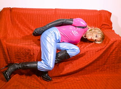 PVC Tgirl in armbinder (sabrinamueller789) Tags: tgirl tranny crossdresser catsuit pvc armbinder pvccatsuit shinycatsuit monoglove