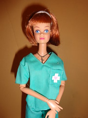 Doctor Stacey, at your service (larry_boy17) Tags: blue doll dolls cross dr barbie jewelry ring redhead doctor freckles headband scrubs midge johnshopkins
