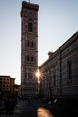 Sunset Behind the Tower (Anthony Plancherel) Tags: city blue sunset sky italy history church monument evening florence worship cityscape cathedral time dusk places landmark firenze sunstar giottos santamariedelfioreilduomo