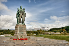 (Uncle Berty) Tags: bridge blue red sky 3 green grass statue clouds scotland highlands memorial exposure raw fort united scottish william we wreath poppies triple hdr conquer commando spean tonemapped