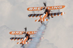 Breitling Boeing N2S-3 Kaydet (B75N1) SE-BOG / 4 (cn 75-7128) and Breitling (AeroSuperBatics) Boeing PT-13D Kaydet (E75) N5057V / 1 (cn 75-5598) (GAN89) Tags: italia codroipo lipi spearman udine rivolto breitlingwingwalkers 55anniversariofreccetricolori