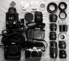 The nine kilos of gear I carried around yesterday. I used virtually everything though. (Jonathan_in_Madrid) Tags: fujifilmxm1 2015 gear minolta md24mm128 cameraporn inmybag