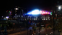 Wembley Arena lit up like the French flag (Ben Sutherland) Tags: france wembley lamarseillaise englandvfrance liberteegalitefraternite frenchteam frenchfootball frenchfootballteam frenchfootballfederation francefootballteam parisattacks francefootballfederation
