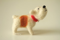 Stanley (miaki) Tags: dog felted toy miniature handmade needle buldog manomine