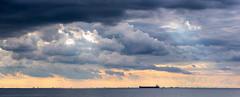 Malmö, June 20, 2015 (Ulf Bodin) Tags: ocean sunset sea summer cloud sun seascape silhouette set clouds strand canon copenhagen landscape eos se is skåne ship sweden outdoor mark iii ii 5d sverige rays mm usm malmö 70200 ef scania hav solnedgång moln öresund f28l skånelän canoneos5dmarkiii canonef70200mmf28lisiiusm