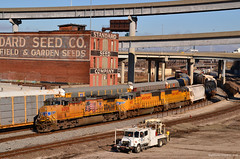 """Westbound Manifest in Kansas City, MO (""""Righteous"""" Grant G.) Tags: city railroad west up train pacific union trains missouri kansas locomotive freight westbound manifest"""