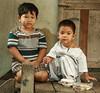 boys on a porch (the foreign photographer - ฝรั่งถ่) Tags: two boys portraits canon children thailand kiss bangkok porch khlong bangkhen thanon 400d
