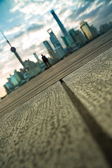 time travel for a day~ Shanghai (~mimo~) Tags: bund shanghai china asia urban skyline sky city scape cityscape modern architecture pudong puxi river clouds line man blur tilt angle diagonal