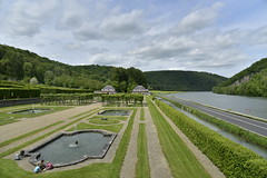 Dtente au bord de la fontaine (Flikkersteph -4,000,000 views ,thank you!) Tags: springtime garden waterpool fountain tranquillity landscape nature footpaths reflecting wonderful hills slopes cloudy shadow trees foliage castle hastire wallonia belgium