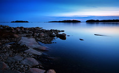 Blue Velvet (tinamar789) Tags: sea seashore seascape sunset rocks reflection coastline blue hour horizon landscape lauttasaari helsinki