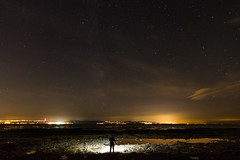 Light Pollution (Rob Pitt) Tags: light pollution west kirby wirral stars milkyway merseyside north wales hilbre island torch lit silhouette night
