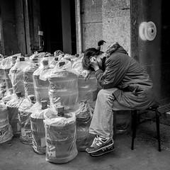 water bottle blues (Rob-Shanghai) Tags: street mono leicaq waterbottle blues china shanghai girl tired sleeping streetphotography