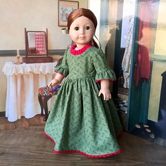 Colonial Holiday Day Dress (kgabor19) Tags: christmas holiday green red kgabor19 katherinescreations etsyseller etsy felicitymerriman colonialstyle 1700s colonial dollgown dollclothing dolldress 18inchdoll americangirldoll